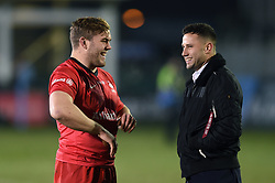 Jack Singleton of Saracens speaks with Max Green of Bath Rugby after the match - Mandatory byline: Patrick Khachfe/JMP - 07966 386802 - 29/11/2019 - RUGBY UNION - The Recreation Ground - Bath, England - Bath Rugby v Saracens - Gallagher Premiership