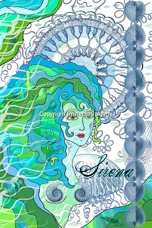 Pen and ink drawing.embellished in photoshop .siren mermaid prose seashells jellyfish drawings shells blue green nautilus water undersea underwater whimsical, magical, artwork...Charr Crail, 2011, All Rights Reserved.www.charrcrail.com.916-505-1154..Charr Crail Fractals.Fractal art illustration kaleidascope pattern infinity mathematical..Photo/illustration by Charr Crail, 2011, All Rights Reserved.www.charrcrail.com.916-505-1154..