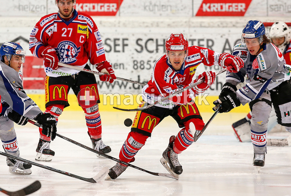 Rapperswil-Jona Lakers forward Valts Peleckis is pictured during an Elite A Ranking Round 9-13 ice hockey game between Rapperswil-Jona Lakers and EHC Biel-Bienne Spirit held at the Diners Club Arena in Rapperswil, Switzerland, Sunday, Feb. 28, 2016. (Photo by Patrick B. Kraemer / MAGICPBK)