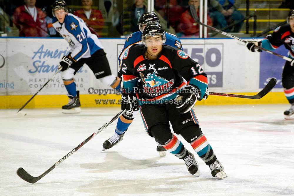 KELOWNA, CANADA, NOVEMBER 25: Tyrell Goulbourne #12 of the Kelowna Rockets skates on the ice as the Kootenay Ice visit the Kelowna Rockets  on November 25, 2011 at Prospera Place in Kelowna, British Columbia, Canada (Photo by Marissa Baecker/Shoot the Breeze) *** Local Caption *** Tyrell Goulbourne