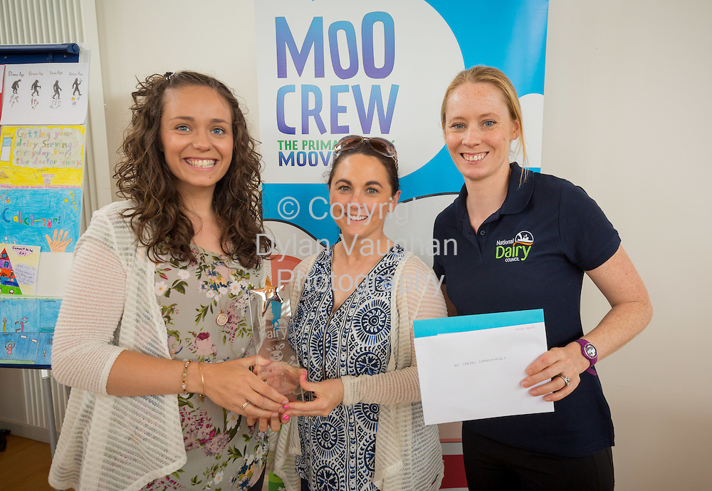 Repro Free no charge for Repro<br /> <br /> 15-6-16<br /> <br /> DERVAL O&rsquo;ROURKE CELEBRATES WITH WINNING MOO CREW SCHOOLS FROM DONEGAL &amp; LONGFORD<br />  <br /> Derval O&rsquo;Rourke, the well-known sprint hurdler who is a World Indoor Champion, multiple European medallist and three time Olympian, was in Dublin today (15th June, 2016) to celebrate with the top winning primary school children in the National Dairy Council&rsquo;s Moo Crew &ndash; Primary Dairy Moovement.<br /> Moo Crew is a fun and interactive way for children to learn about the benefits of a healthy, balanced diet and the importance of exercise &ndash; to &lsquo;get moo-ving&rsquo;.  It is supported by the NDC in light of research that showed 37% of girls and 28% of boys aged from 5 &ndash; 12 years in Ireland had inadequate calcium intakes in their diet.<br />  <br /> The top classes in the Junior Category and Senior Category of the NDC&rsquo;s national competition each won a sports equipment pack worth &euro;1,000 for their school and the day out in Airfield Farm in Dublin, with Olympic star Derval O&rsquo;Rourke.  The overall national winners of Moo Crew for 2016 are:<br /> &middot;         National Winners, Junior Category - Junior Class, Little Angels Special School, Letterkenny, Co. Donegal (Junior class Teacher Mr. Daire Diver)<br /> &middot;         National Winners, Senior Category - 4th &amp; 5th Class, Sacred Heart Primary School, Granard, Co Longford (Teachers Ms. Carmel Shaughnessy and Ms. Grace McGauran)<br /> <br /> Milly, the Moo Crew Mascot cow, joined in the action packed day which included milking cows, farmyard experiences and butter making; as well as activities such as bug hunting and woodland walks.  Further details and information about county winners at www.ndc.ie.<br />  <br /> Pictured at Airfield Farm were Derval O&rsquo;Rourke and teachers Grace McGauran and Carmel Shaughnessy McKeon from Sacred Heart Primary School, Granard, Co Longford.<br /> Picture Dylan Vaughan