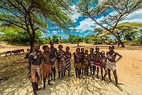 Hamer tribe people in their encampment, Omo Valley, Ethiopia.