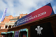 General view of the Hobbs Gate entrance with ICC Cricket World Cup branding before the ICC Cricket World Cup 2019 match between England and South Africa at the Oval, London, United Kingdom on 30 May 2019.