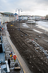 © London News Pictures. 07/01/2014. Aberystwyth, UK.<br /> General view showing destruction caused to the seafront and promenade at Aberystwyth, Wales, following sever weather storm which battered the East coast of the UK and Ireland. Photo credit: Keith Morris/LNP