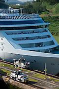 Detail of cruise ship crossing at Miraflores Locks. Panama Canal, Panama City, Panama, Central America.