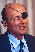 Moshe Dayan - 20 May 1915 – 16 October 1981 - was an Israeli military leader and politician. He was the second child born on the first kibbutz, but he moved with his family in 1921, and he grew up on a moshav (farming cooperative). As commander of the Jerusalem front in the 1948 Arab–Israeli War, chief of staff of the Israel Defense Forces (1953–58) during the 1956 Suez Crisis, but mainly as Defense Minister during the Six-Day War in 1967, he became to the world a fighting symbol of the new state of Israel. In the 1930s, he was trained by Orde Wingate to set traps for Palestinian-Arabs fighting the British and he lost an eye in a raid on Vichy forces in Lebanon. Dayan was close to David Ben-Gurion and joined him in leaving the Mapai party and setting up the Rafi party in 1965 with Shimon Peres. Dayan became Defence Minister just before the 1967 Six-Day War. After the October War of 1973, Dayan was blamed for the lack of preparedness; after some time he resigned. In 1977, following the election of Menachem Begin as Prime Minister, Dayan was expelled from the Labor Party because he joined the Likud-led government as Foreign Minister, playing an important part in negotiating the peace treaty between Egypt and Israel.