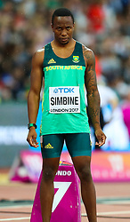 London, 2017 August 07. Akani Simbine, South Africa, in the men's 200m heats on day four of the IAAF London 2017 world Championships at the London Stadium. © Paul Davey.
