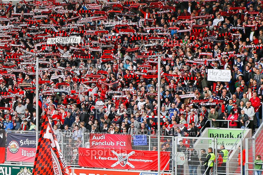 02.04.2016, Audi Sportpark, Ingolstadt, GER, 1. FBL, FC Ingolstadt 04 vs Schalke 04, 28. Runde, im Bild Ingolstaedter Fanblock mit Transparenten // during the German Bundesliga 28th round match between FC Ingolstadt 04 and Schalke 04 at the Audi Sportpark in Ingolstadt, Germany on 2016/04/02. EXPA Pictures &copy; 2016, PhotoCredit: EXPA/ Eibner-Pressefoto/ Strisch<br /> <br /> *****ATTENTION - OUT of GER*****