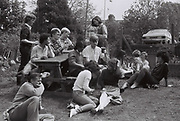 Uxbridge Tech students in a beer garden, Hillingdon, UK, 1983
