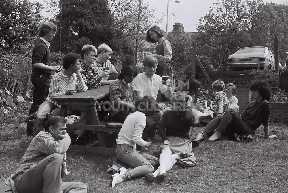 Uxbridge Tech students in a beer garden, Hillingdon, UK, 1983