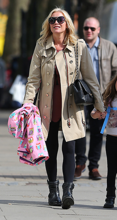 Denise Van Outen out shopping with her daughter Betsy and a friend in north London. The 41-year-old TV presenter wearing a beige trench coat, pink playsuit, black tights and black ankle boots as she spends some quality time with her daughter. UK. 14/04/2016<br />BYLINE MUST READ : JAMESY/GOTCHA IMAGES<br /><br />Copyright by &copy; Gotcha Images Ltd. All rights reserved.<br />Usage of this image is conditional upon the acceptance <br />of Gotcha Images Ltd, terms and conditions available at<br />www.gotchaimages.com