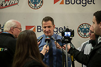 KELOWNA, CANADA - FEBRUARY 23: Kelowna Rockets' head coach Adam Foote speaks to the media after the win against the Kamloops Blazers  on February 23, 2019 at Prospera Place in Kelowna, British Columbia, Canada.  (Photo by Marissa Baecker/Shoot the Breeze)