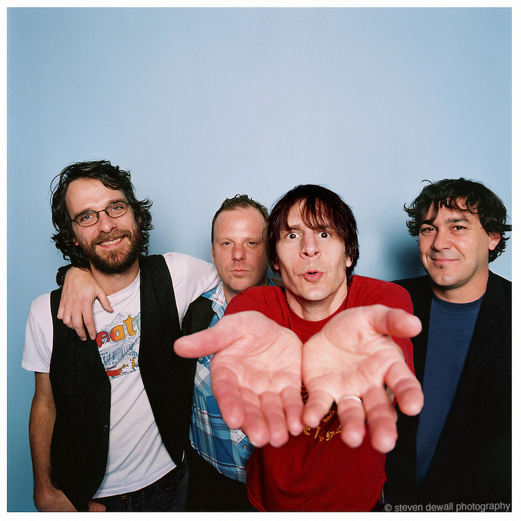 "(L-R) Steve Turner, Dan Peters, Guy Maddison and Mark Arm of Mudhoney photographed in my studio on Capital Hill in Seattle for the release of ""Under a Billion Suns"" in 2006."