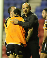 Wigan - Sunday 20th September 2009: Castleford Tigers Terry Matterson consoles Rangi Chase after the Engage Super League Elimination Playoff match between The Wigan Warriors & The Castleford Tigers at the DW Stadium in Wigan. (Pic by Steven Price/Focus Images)