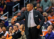 Nov. 23, 2012; Phoenix, AZ, USA; Phoenix Suns head coach Alvin Gentry reacts from the sidelines during the game against the New Orleans Hornets in the first half at US Airways Center. The Suns defeated the Hornets 111-108 in overtime. Mandatory Credit: Jennifer Stewart-US PRESSWIRE