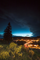 """""""Downtown Truckee 37"""" - Photograph of little Bitterbrush wildflowers above historic Downtown Truckee, California, shot just after sunset."""