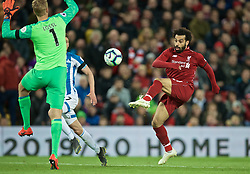 LIVERPOOL, ENGLAND - Friday, April 26, 2019: Liverpool's Mohamed Salah scores the third goal during the FA Premier League match between Liverpool FC and Huddersfield Town AFC at Anfield. (Pic by David Rawcliffe/Propaganda)