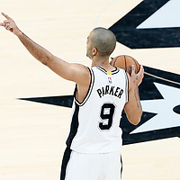 01 May 2017: San Antonio Spurs guard Tony Parker (9) brings the ball up court during the Houston Rockets 126-99 victory over the San Antonio Spurs, in game 1 of the Western Conference Semi Finals, at the AT&T Center, San Antonio, Texas, USA.