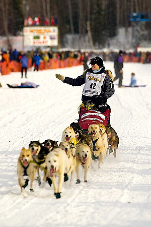 05 March 2006: Willow, Alaska - Blind musher Rachael Scdoris of Bend, OR. heads out for Nome during the official restart of the 2006 Iditarod on Willow Lake in Willow, Alaska