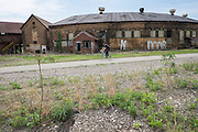 The former Connecting Railroad roundhouse in McKeesport, PA, was built in 1905. Now abandoned, an industrial park developer using federal and state historic preservation agencies is planning to preserve the structure. <br />