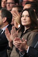SAINT RAPHAEL, FRANCE - APRIL 07:  Carla Bruni-Sarkozy attends UMP Campaign Meeting at the Palais des Sports on April 7, 2012 in Saint Raphael, France.  (Photo by Tony Barson/Getty Images) *** Local Caption *** Carla Bruni-Sarkozy