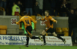 WOLVERHAMPTON, ENGLAND - Wednesday, January 21st, 2004: Wolverhampton Wanderers' Kenny Miller celebrates scoring the equalising goal to level the scores at 1-1 against Liverpool during the Premiership match at Molineux. (Pic by David Rawcliffe/Propaganda)