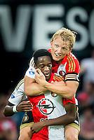 ROTTERDAM - Feyenoord - Vitesse , Voetbal , Seizoen 2015/2016 , Eredivisie , De Kuip , 23-08-2015 , Speler van Feyenoord Dirk Kuyt (r) bedankt de man die verantwoordelijk is voor de strafschop Speler van Feyenoord Terence Kongolo (l)