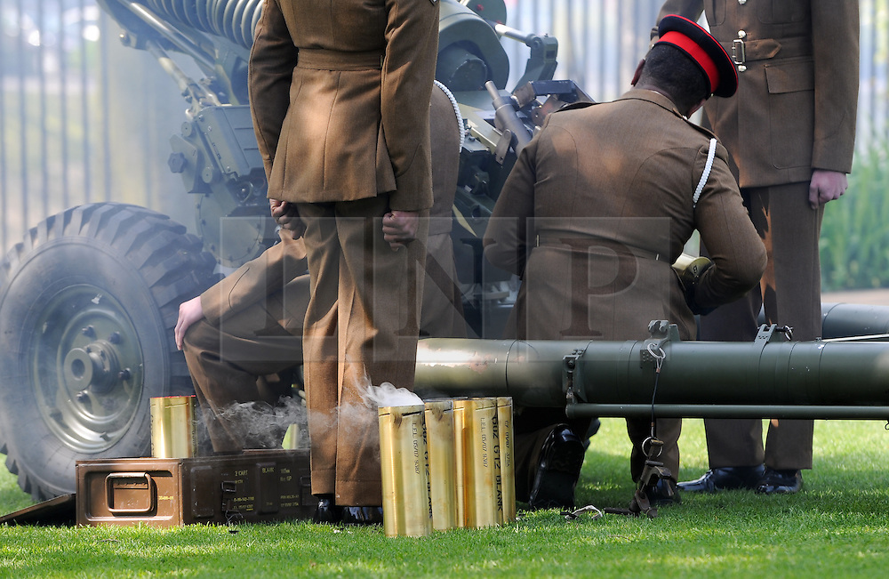 © Licensed to London News Pictures. 21/04/2014<br /> <br /> York, United Kingdom<br /> <br /> Recently fired cartridges smoke after being fired by Artillery guns from 4th Regiment Royal Artillery who fired a salute in the Museum Gardens in York to mark the Queen's 88th birthday. <br /> <br /> Three 105mm light guns from the Topcliffe based regiment fired 21 rounds to mark the occasion.<br /> <br /> Photo credit : Ian Forsyth/LNP