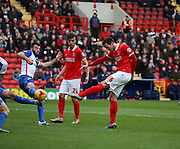 Charlton Athletic defender, Harry Lennon (26) scoring opening goal during the Sky Bet Championship match between Charlton Athletic and Blackburn Rovers at The Valley, London, England on 23 January 2016. Photo by Matthew Redman.