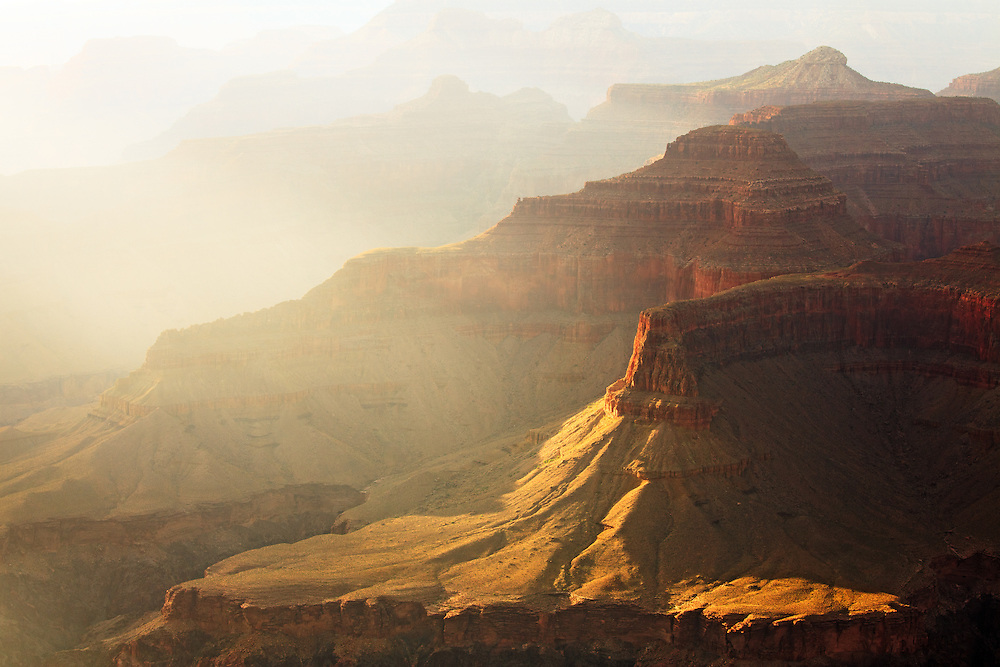 Warm light fills the Grand Canyon.