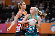 SYDNEY, NSW - JUNE 22: Joanna Weston of the Vixens looks to pass the ball past Caitlin Bassett of the Giants during the round 9 Super Netball match between the Giants and the Vixens at Quaycentre on June 22, 2019 in Sydney, Australia. (Photo by Speed Media/Icon Sportswire)