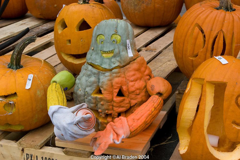 Self-painting Jack o Lantern at Keene Pumpkin Festival