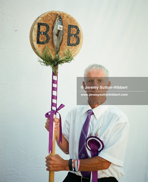 Ian Borthwick, Emblem Bearer of the Barley Banna', Langholm Common Riding, Scotland on 25th July 2014.