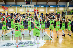 Nika Baric of Slovenia, Eva Lisec of Slovenia and other players celebrate after winning and qualifying during basketball match between Women National Teams of Slovenia and Lithuania in Qualifications of EuroBasket Women 2017, on November 19, 2016 in Gimnazija Celje, Slovenia. Photo by Vid Ponikvar / Sportida