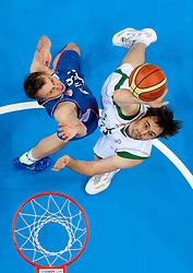 Dusko Savanovic of Serbia vs Erazem Lorbek of Slovenia during basketball game between National basketball teams of Slovenia and Serbia in 7th place game of FIBA Europe Eurobasket Lithuania 2011, on September 17, 2011, in Arena Zalgirio, Kaunas, Lithuania. Slovenia defeated Serbia 72 - 68 and placed 7th. (Photo by Vid Ponikvar / Sportida)
