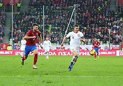 November 15, 2018 - Gdansk, Pomorze, Poland - Ondrej Celustka (3) vies Robert Lewandowski (9) during the international friendly soccer match between Poland and Czech Republic at Energa Stadium in Gdansk, Poland on 15 November 2018  (Credit Image: © Mateusz Wlodarczyk/NurPhoto via ZUMA Press)