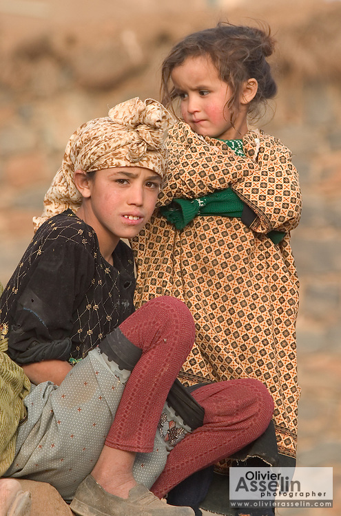 Young Berber girls, Ait Boughmez valley, Moroccan High Atlas.