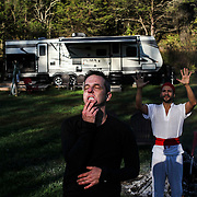 """Recovering opioid addict Neal Catlett, of Lexington, Kentucky, involuntarily reacts after smoking the venom bufo alvarius, a rare toad found in the Mexican desert, during a """"healing ceremony""""  under the watch of """"shaman/sitter"""" named Madhu in Lexington on Thursday, October 19, 2017. Catlett, who wants to start a church using the substance, as well as a growing contingent of users believe the venom can help with reducing and ultimately overcoming many forms of addiction."""