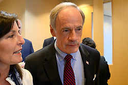 Sen. Tom Carper, D-De, ranking member on Committeeon Environment and Public Works and  Hope Grosse , co-founder of Buxmont Coalition of Safe Water attend a roundtable discussion on per- and polyfuoroalkyl substances or PFAS pollution at Horsham Township Library, in Horsham, PA, on April 8, 2019. The health crisis affects tens of thousands of residents in Bucks and Montgomery Counties in Eastern Pennsylvania.