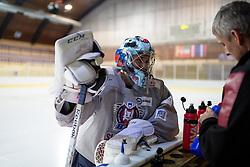 Robert Kristan talking to Milan Dragan at first practice of Slovenian National Ice Hockey team before EIHC tournament in Innsbruck, on November 4, 2013 in Ledena dvorana Bled, Bled, Slovenia. (Photo by Matic Klansek Velej / Sportida.com)