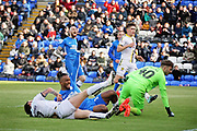GOAL. Peterborough midfielder Ivan Toney (17) slides in to score Peterborough's second goal during the EFL Sky Bet League 1 match between Peterborough United and Burton Albion at London Road, Peterborough, England on 4 May 2019.
