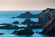 Rocks along the rugged coastline in Cornwall, UK