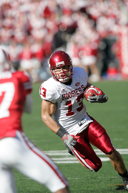 27 October 2007: Indiana wide receiver Andrew Means (13) as the Indiana Hoosiers played the Wisconsin Badgers in a college football game in Madison, Wisc. Wisconsin won 33-3.