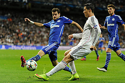 10.03.2015, Estadio Santiago Bernabeu, Madrid, ESP, UEFA CL, Real Madrid vs Schalke 04, Achtelfinal, R&uuml;ckspiel, im Bild Real Madrid&acute;s Cristiano Ronaldo and FC Shalke 04&acute;s Tranquillo Barnetta // during the UEFA Champions League Round of 16, 2nd Leg match between Real Madrid and Schakke 04 at the Estadio Santiago Bernabeu in Madrid, Spain on 2015/03/10. EXPA Pictures &copy; 2015, PhotoCredit: EXPA/ Alterphotos/ Luis Fernandez<br /> <br /> *****ATTENTION - OUT of ESP, SUI*****