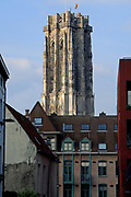 Mechelen is a city and municipality in the province of Antwerp, Flanders, Belgium.<br /> <br /> On the Photo: rote Markt (Large Market square), St. Rumbold's Cathedral. The Sint-Romboutskathedraal (St. Rumbold's Cathedral) with its dominating tower (UNESCO World Heritage ID 943-016); the Sint-Janskerk (Church of St. John the Evangelist) exhibits 'The Adoration of the Magi' and the Kerk van Onze-Lieve-Vrouw-over-de-Dijle (Church of Our Lady across the river Dijle) 'The Miraculous Draught of Fishes', paintings by Rubens; the domed baroque Basiliek van Onze-Lieve-Vrouw-van-Hanswijk by native architect Lucas Faydherbe, of whom some sculptures can also be found in the cathedral – he was a pupil and leading assistant of Rubens; the baroque Begijnhofkerk (Church of the Beguines, dedicated to St. Alexis and St. Catherine); the former Jesuit church Sint-Pieter en Pauluskerk (Saints Peter and Paul) and the present Jesuit Church of Our Lady of Leliendaal.