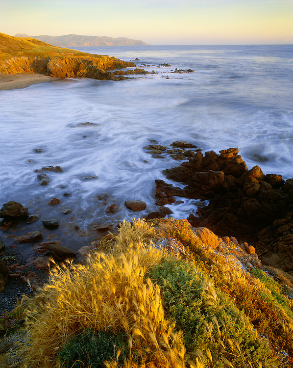 0603-4017 ~ Copyright:  George H. H. Huey ~ The west end of Santa Cruz Island Preserve at sunset. [Kinton Point in distance].  The Nature Conservancy.  Santa Cruz Island, California.
