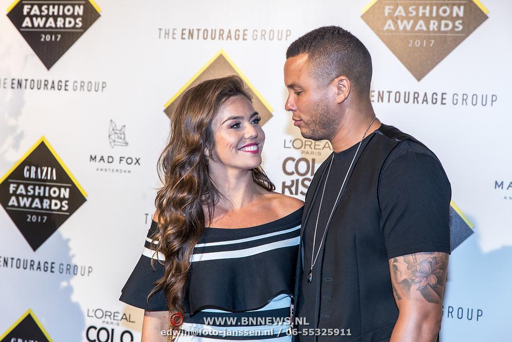NLD/Amsterdam/20170829 - Grazia Fashion Awards 2017, Laura Ponticorvo en partner Ryan Rijger