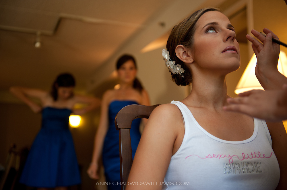 A bride gets ready for her wedding at Church of the Nativity, Menlo Park, CA.