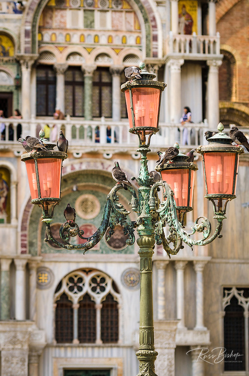 Street lamp at Basilica San Marco (Saint Mark's Cathedral), Venice, Veneto, Italy