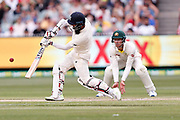 Moeen Ali hits a six during day three of the Australia v England fourth test at the Melbourne Cricket Ground, Melbourne, Australia on 28 December 2017. Photo by Mark  Witte.